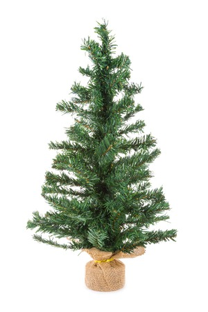 fake christmas tree: Christmas tree of synthetic material isolated over white