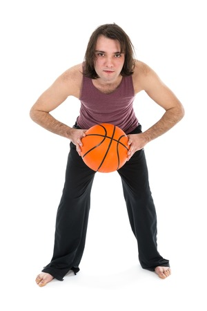 sports wear: Man in sports wear playing basketball on white background