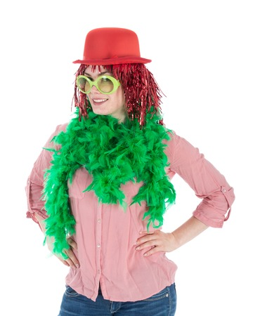 Woman in carnival costume with wig and bowler, isolated over white photo