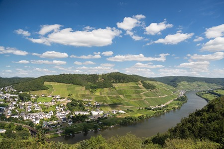 blue romance: Aerial view of beautiful river Moselle in Germany near city Bullay