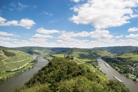 Aerial view of beautiful river Moselle in Germany photo