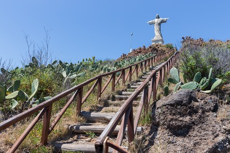 jezus: Stairs to statue of Jesus Christ at Garajau in Funchal, Madeira Island