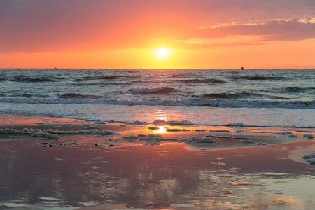scheveningen: Beautiful sea sunset at the Dutch coast near Scheveningen Stock Photo