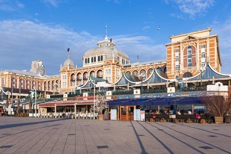 scheveningen: SCHEVENINGEN THE NETHERLANDS APR 30: View at the famous Kurhaus with some restaurants in front of it on April 30 2015 Scheveningen The Netherlands Editorial