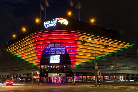 SCHEVENINGEN, THE NETHERLANDS - APR 30:  Night view of Holland Casino in the evening on April 30, 2015 in Scheveningen, The Netherlands