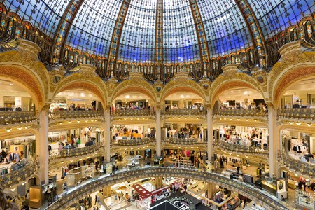PARIS FRANCE MAY 29: Unknown people shopping in famous Lafayette luxury department store on May 29 2015 in Paris France Editorial