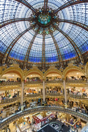 PARIS FRANCE MAY 29: Unknown people shopping in famous Lafayette luxury department store on May 29 2015 in Paris France