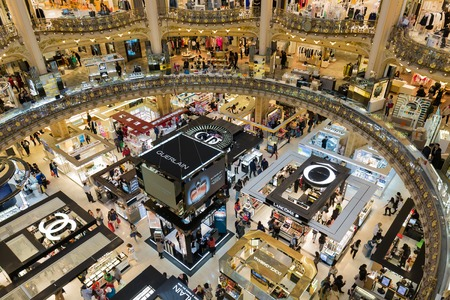 lafayette: PARIS FRANCE MAY 29: Unknown people shopping in famous Lafayette luxury department store on May 29 2015 in Paris France Editorial