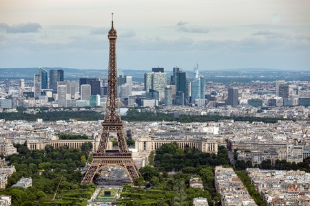 eiffel: Aerial view of Paris with Eiffel Tower from Montparnasse building