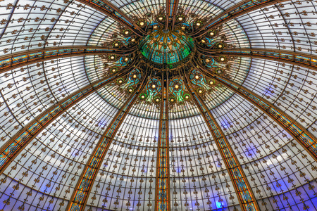 lafayette: PARIS, FRANCE - MAY 29: Glass roof of famous luxury Lafayette department store on May 29, 2015 in Paris, France Editorial