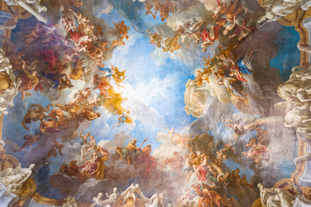 church people: VERSAILLES PARIS, FRANCE - MAY 30: Ceiling painting in one of the rooms of the Royal Chateau Versailles on May 30, 2015 at the Palace of Versailles near Paris, France Editorial