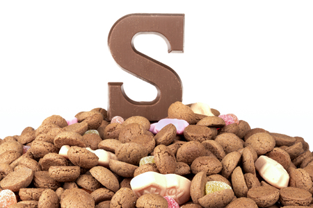 '5 december': Chocolate letter and ginger nuts, Dutch sweets at 5 december Sinterklaas party