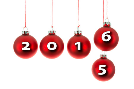 replaced: Red Christmas balls hanging at a rope with text 2015 replaced by 2016