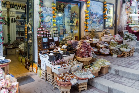 grocer: TAORMINA, ITALY - MAY 21: Grocer shop with spices and beverages on May 21, 2016 in Taormina at the island Sicily, Italy