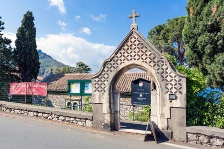 taormina: TAORMINA, ITALY - MAY 21: Entrance of the Anglican Church of Taormina on May 21, 2016 at the island Sicily, Italy