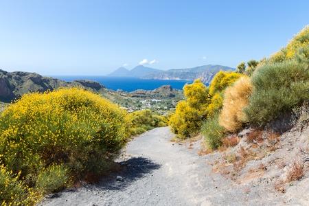 Hiking trail at Vulcano, Aeolian Islands near Sicily in Italy