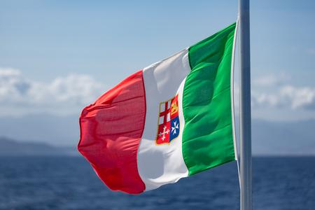 aeolian: Waving Italian Flag at ferry between Sicily and Aeolian Islands
