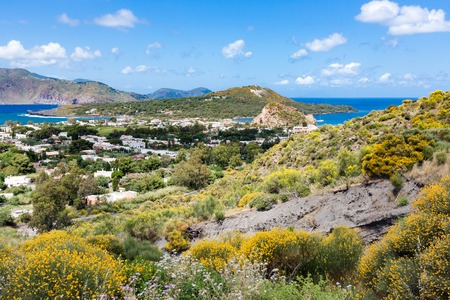 aeolian: Aerial view of Vulcano, one of the Aeolian Islands near Sicily, Italy