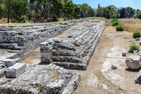 olympian: Archaeological Park of Neapolis with temple of Olympian Zeus at Syracusa, Sicily Italy
