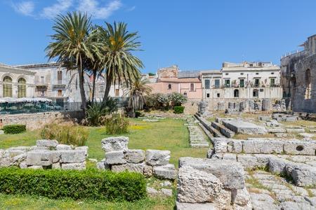 ortigia: Temple of Apollo, ancient Greek monument in Ortigia, Syracusa, Sicily, Italy Stock Photo