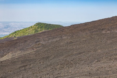 the ashes: Bare slope of Mount Etna covered with ashes and stones, Sicily, Italy Stock Photo