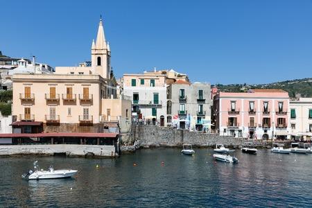 salina: LIPARI, ITALY - MAY 24: Harbor of Lipari at the Aeolian islands on May 24, 2016 at Sicily, Italy Editorial