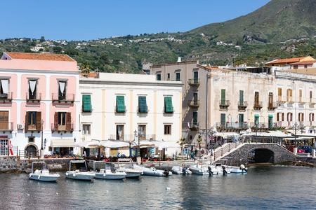 lipari: LIPARI, ITALY - MAY 24: Harbor of Lipari at the Aeolian islands on May 24, 2016 at Sicily, Italy Editorial