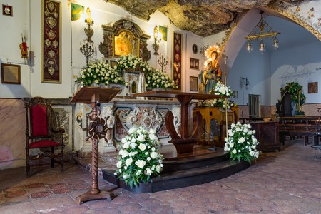 18 19: TAORMINA, ITALY - MAY 19: Chapel Madonna della Rocca at a mountain on May 18, 2016 near Taormina at the island Sicily, Italy Editorial