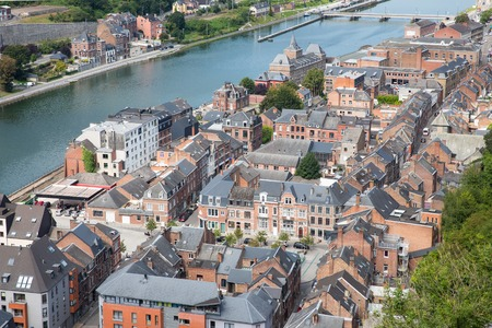 meuse: Aerial view Dinant along river Meuse, Belgium