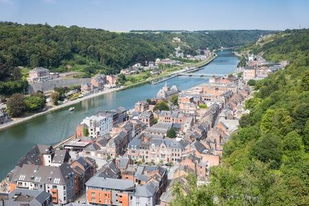 meuse: Aerial view Dinant along river Meuse in Belgium Stock Photo