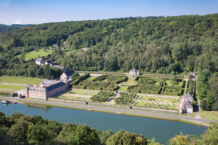 meuse: Aerial view chateau Freyr along river Meuse near Dinant in Belgium