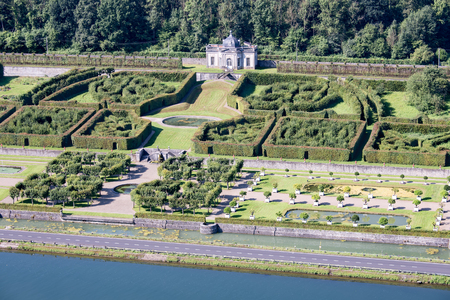 meuse: Aerial view gardens chateau Freyr along Meuse river near Dinant in Belgium