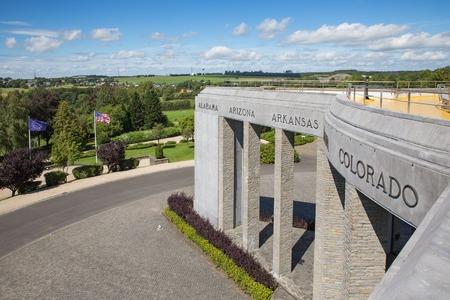 American WW2 memorial Battle of the Bulge in Ardennes at Bastogne, Belgium Stock Photo