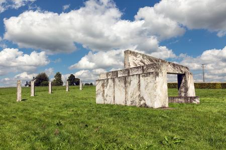 NADRIN, BELGIUM - AUGUST 14, 2016: Europalia monument of marble at Nadrin near La Roche-en-Ardenne in Belgian Ardennes symbolizing the European openness