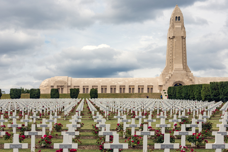 VERDUN, FRANCE - AUGUST 19, 2016: Douaumont ossuary and cemetery for First World War One soldiers who died at Battle of Verdun
