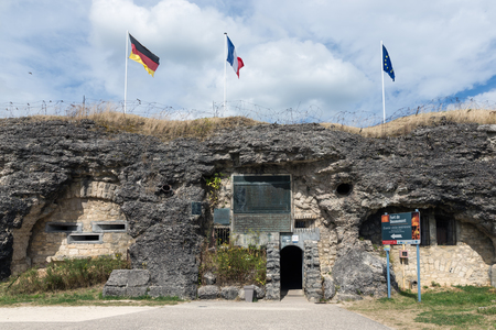 VERDUN, FRANCE - AUGUST 19, 2016: Visitor entrance fort Douaumont. Battlefield of First World War One.