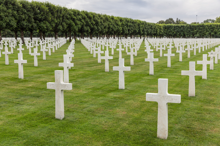 VERDUN, FRANCE - AUGUST 19, 2016: American cemetery near Romagne-sous-Faucon for First World War One soldiers who died at Battle of Verdun