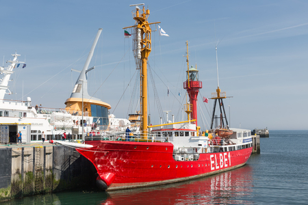 HELGOLAND, GERMANY - MAY 22, 2017: Historic lightship Elbe1 in harbor of Helgoland