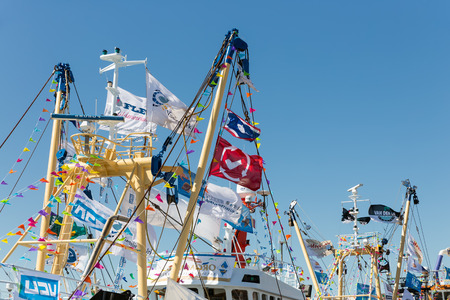 local 27: URK, THE NETHERLANDS - MAY 27, 2017: Decorated  fishing vessels at harbor of Urk during a local fishing day event