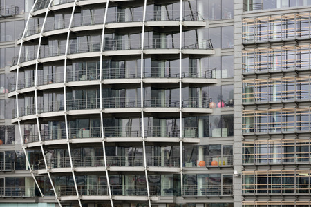 mirror frame: Facade of modern building along river Thames in London, United Kingdom
