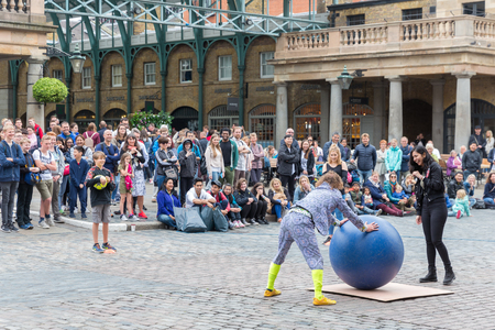 LONDON, ENGLAND - JUNE 08, 2017: Street performance at Covent garden, main attraction of London, UK