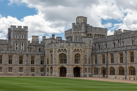 Courtyard garden and buildings of Windsor Castle near London, England Editorial