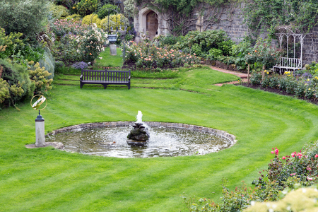 old english: Courtyard garden of Windsor Castle near London, England