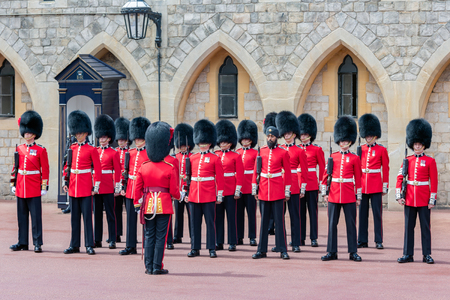 WINDSOR, ENGLAND - JUNE 09, 2017: Changing guard ceremony in Windsor Castle, country house queen of England