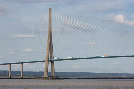 Pont de Normandie, bridge over river Seine between Le Havre and Honfleur in France