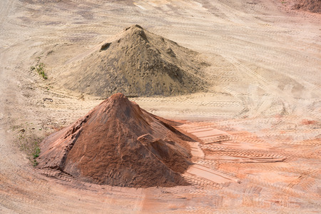 sand quarry: Stockyard of quarries, sands, pebbles and aggregates near Le Havre, France