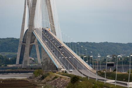 turnpike: Pont de Normandie, bridge crossing river Seine near Le Havre in France. The bridge is the longest rope bridge of Europe.