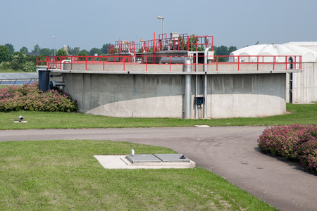 View at concrete bassin of a Dutch wastewater Treatment Plant