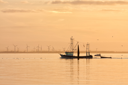 Sunset over Dutch sea with fishing ship returning to harbor and windturbines at the horizon