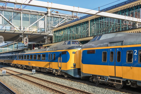 Dutch intercity train at central station of Den Bosch, The Netherlands